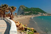 Poniente beach and Rock of Gibraltar, La Linea de la Concepcion, Cadiz-province, Spain