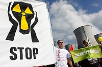 Protest against Nuclear power station, Ain, Bugey, Saint-Vulbas, Rhône-Alpes, France