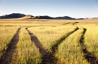 Two roads meet and separate in the Gobi Desert  Mongolia