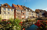 Timber framing houses at the fishmonger´s district, Little venice, Colmar, Alsace, France