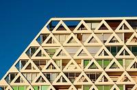 France, Herault, La Grande-Motte, Les Voiles Blanche, Triangular window patterns