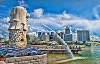 Singapore, Singapore city, Downtown with famous Lion, Merlion and skyline of city in Fullerton Area of Clarke Quay area