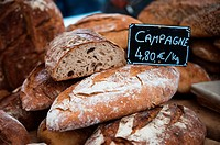 Fresh Campagne bread on market stall