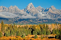 Sunrise on Grand Teton at Blacktail Ponds in Grand Teton National Park in northern Wyoming