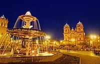 City Sqaure Faountain at Night in Cuzco Peru