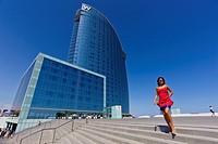 Girl in front of W Hotel  Barcelona, Spain