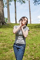 Eurasian teenage girl at a park