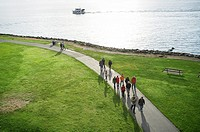 Family walking along Elliot Bay Trail, Myrtle Edwards Park - Seattle, Washington