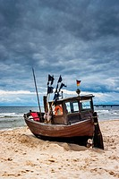 Fishing boat at the Baltic Sea near the pier of the Baltic Sea resort of Ahlbeck, Municipality of Heringsdorf, Usedom Island, County Vorpommern-Greifs...