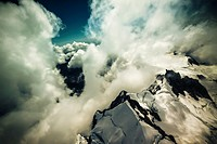 Aerial photo of beautiful cloudscape above Mount Cook National Park in New Zealand