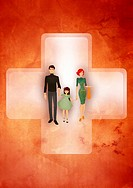 Family with one child over red cross against colored background depicting medical insurance