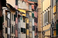 florence old town alley with lots of colorful facade