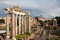 scene of the roman forum in rome italy