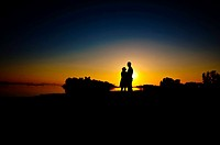 Silouette of couple standing by the shore with the sun setting in background of couple standing by the shore with the sun setting in background