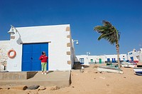 Typical Construction on the beach, Graciosa Island, north of Lanzarote. Canary Islands, Spain