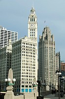 Wrigley Building south tower and the Chicago Tribune Tower.