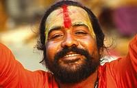 portrait of sadhu or holyman at Calcutta, India