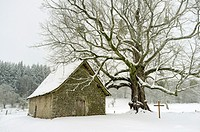 Small chapel at Mas Saint-Jean on a snowy winter day, Saint-Sulpice-le-Dunois, La Creuse, Limousin, France.