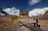 Nepali trekker reaching the Annapurna Base Camp at 4130m altitude. Nepal, Gandaki, Annapurna, Annapurna Base Camp.