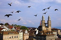 Switzerland, Zurich, panorama and cathedral.