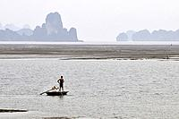 Vietnam, Ha Long bay a World heritage site of UNESCO, fishing in the bay.