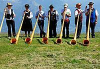 alphorn players, Nendaz, Valais, Switzerland.