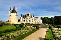 France, Indre et Loire, Loire Valley, castle of Chenonceau, built between 1513 - 1521 in Renaissance style, over the Cher river,.