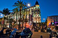 ?he lights of the famous Hotel Carlton, Cannes, French Riviera, France.