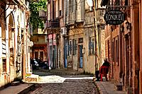 Narrow street, Ayvalik, Turkey.
