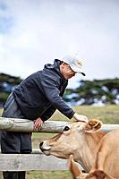 A young farm hand with jersey cow, south Gippsland, Victoria state Australia	1015