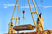 Ship mounted cranes lifting logs from dock onto log ship for transport to China; Port of Port Angeles, Washington USA.