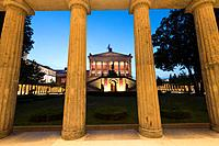 Evening view of Alte Nationalgalerie on Museumsinsel or Museum Island in Berlin Germany.