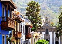 Teror - town on Gran Canaria famous for its basilique and colorful houses with beautiful balconies, Canary Islands, Spain.