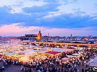 Jamaa el Fna - famous square in Marrakech, Morocco, Africa.