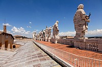 Sculptures on the roof of St. Peter's Basilica in Vatican.