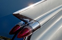 Tail fins and tail lights of a 1959 Cadillac, 52 Series.