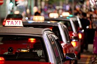 Taxis in a queue, Hong Kong, China, East Asia