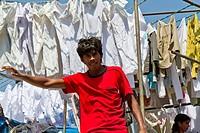 Launderer in Dhobi Ghat in Mumbai, India.