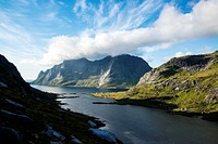 View towards Vindstad and Bunesfjord, Moskenesoy, Lofoten Islands, Norway.