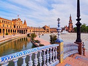 Water Canal on Plaza de Espana - Spanish Square in Seville, Andalusia, Spain.