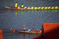 The boat race festival in Paske, Laos.
