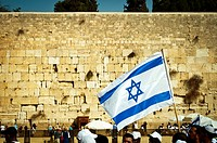 Israeli flag at the Western Wall.