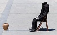 Headless Man Artist on a street in Madrid.