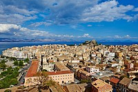 Greece, Ionian island, Corfu island, Kerkyra city, Unesco world heritage, the old Fortress and Agios Spyridon church.