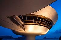 Niemeyer Museum of Contemporary Arts at night, Niteroi, Rio de Janeiro, Brazil.