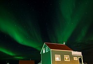 Northern lights in Reyjanesta harbour, Iceland.