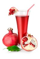 Pomegranate juice is isolated on a white background.