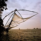Chinese fishing nets in Fort Kochi Cochin in Kerala in India in South Asia