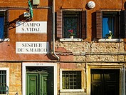 Façade of an old building in Sestier San Marco. Venice. Veneto. Italy.
