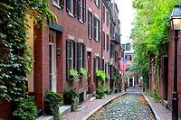 Historic Acorn Street on Beacon Hill in dowtown Boston Massachusetts MA.